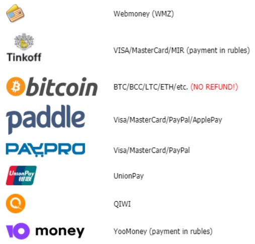What CapMonster Payment means are available